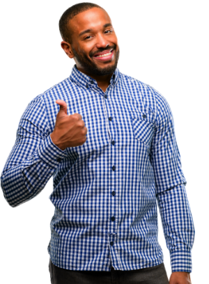 smiling man showing a thumbs up