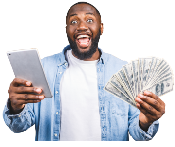 happy person with money in hand