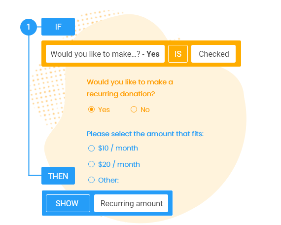 conditional logic for charity online forms