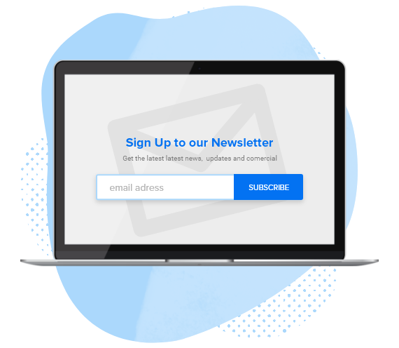 sign up to newsletter in laptop screen
