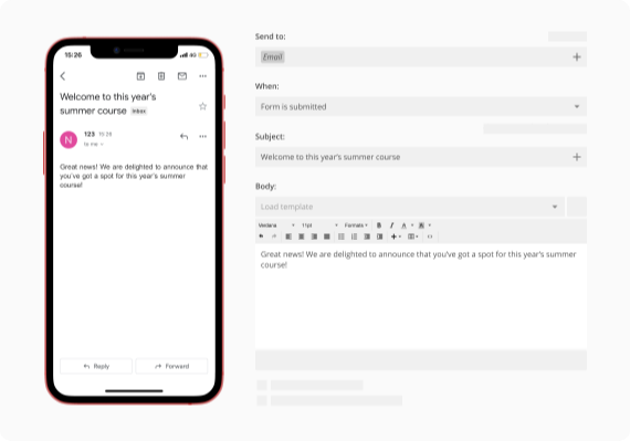 form creator with custom email & SMS notifications