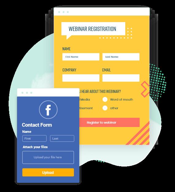 formulaire de contact et formulaire d'inscription au webinaire