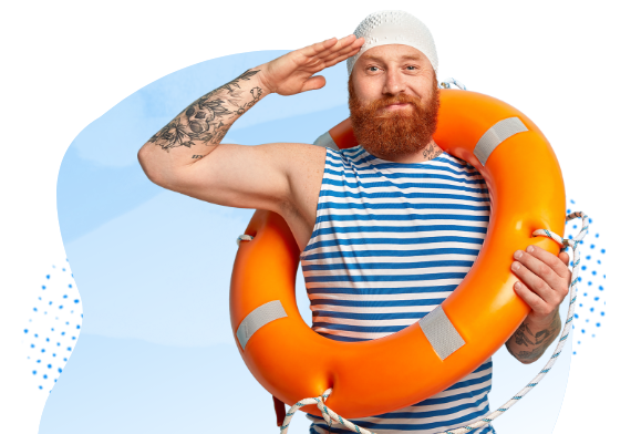 Man with life buoy in salute pose