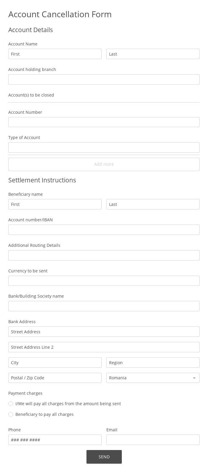 Account Cancellation Form