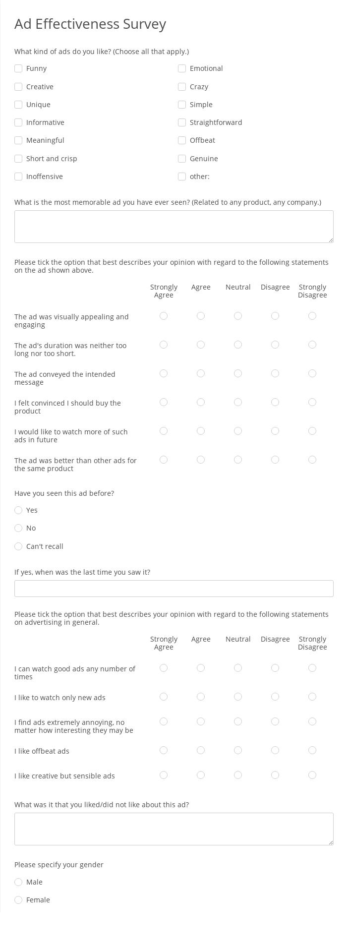 Ad Effectiveness Survey