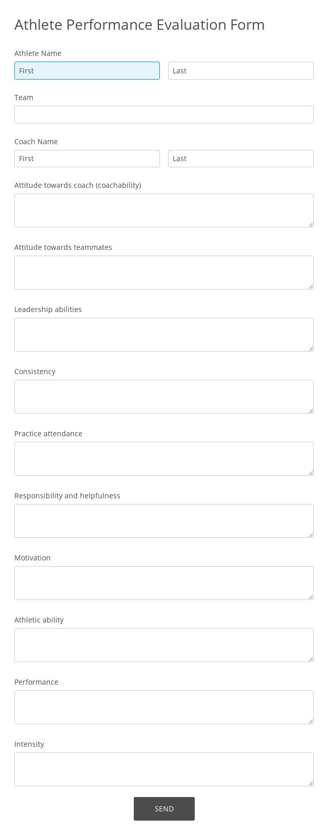 Athlete Performance Evaluation Form