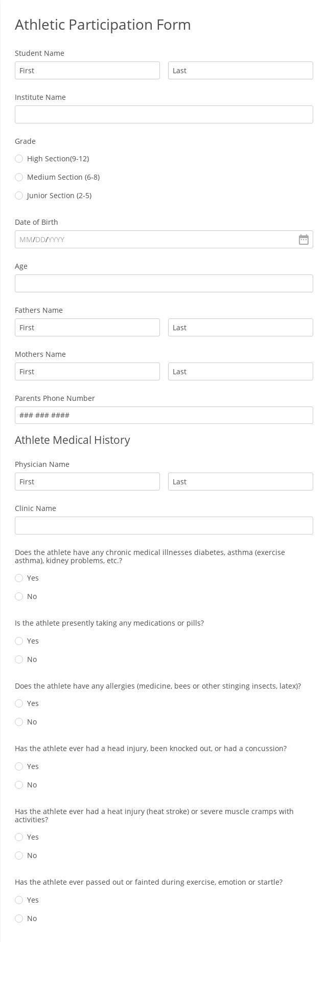 Athletic Participation Form