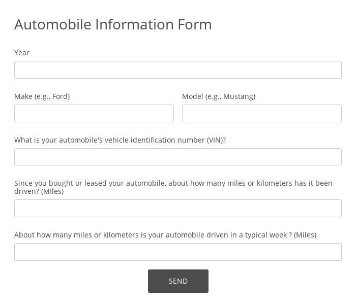 Automobile Information Form
