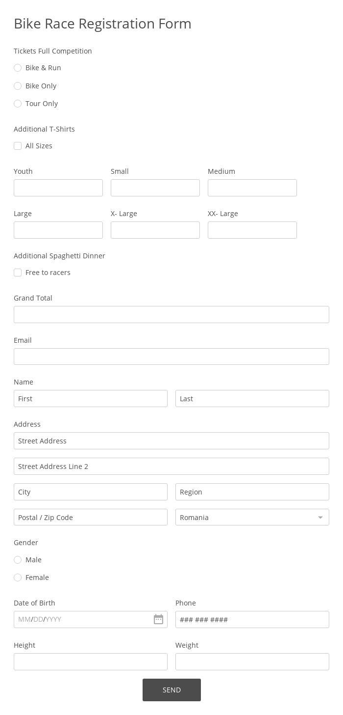 Bike Race Registration Form