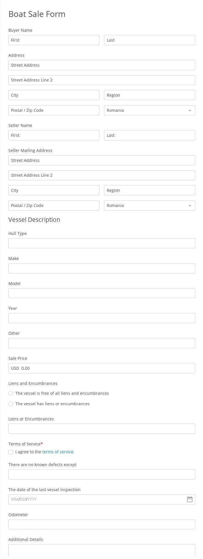Boat Sale Form
