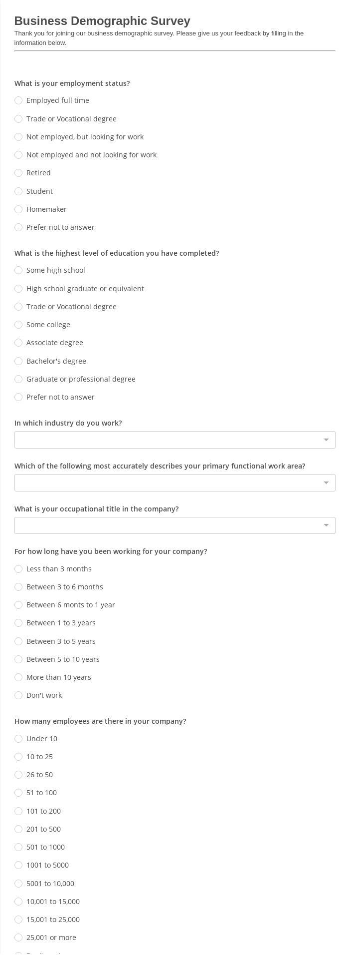 Business Demographic Survey