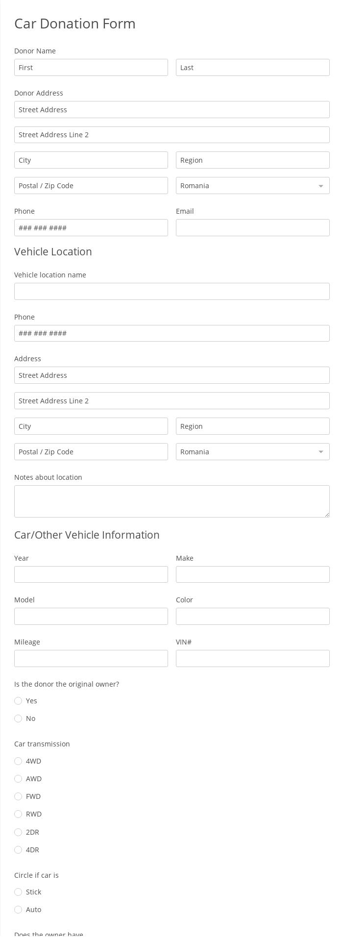 Car Donation Form