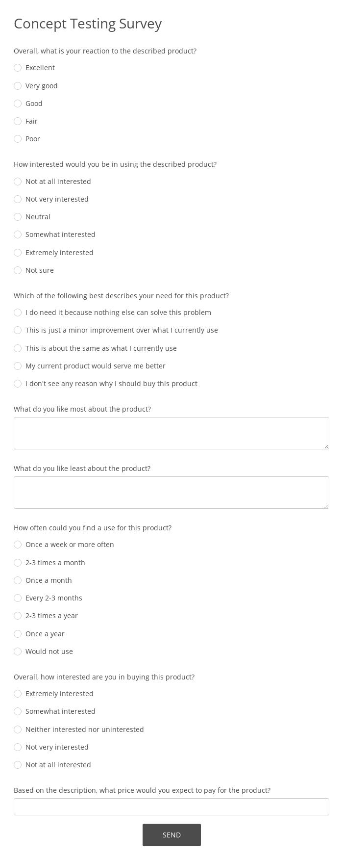 Concept Testing Survey