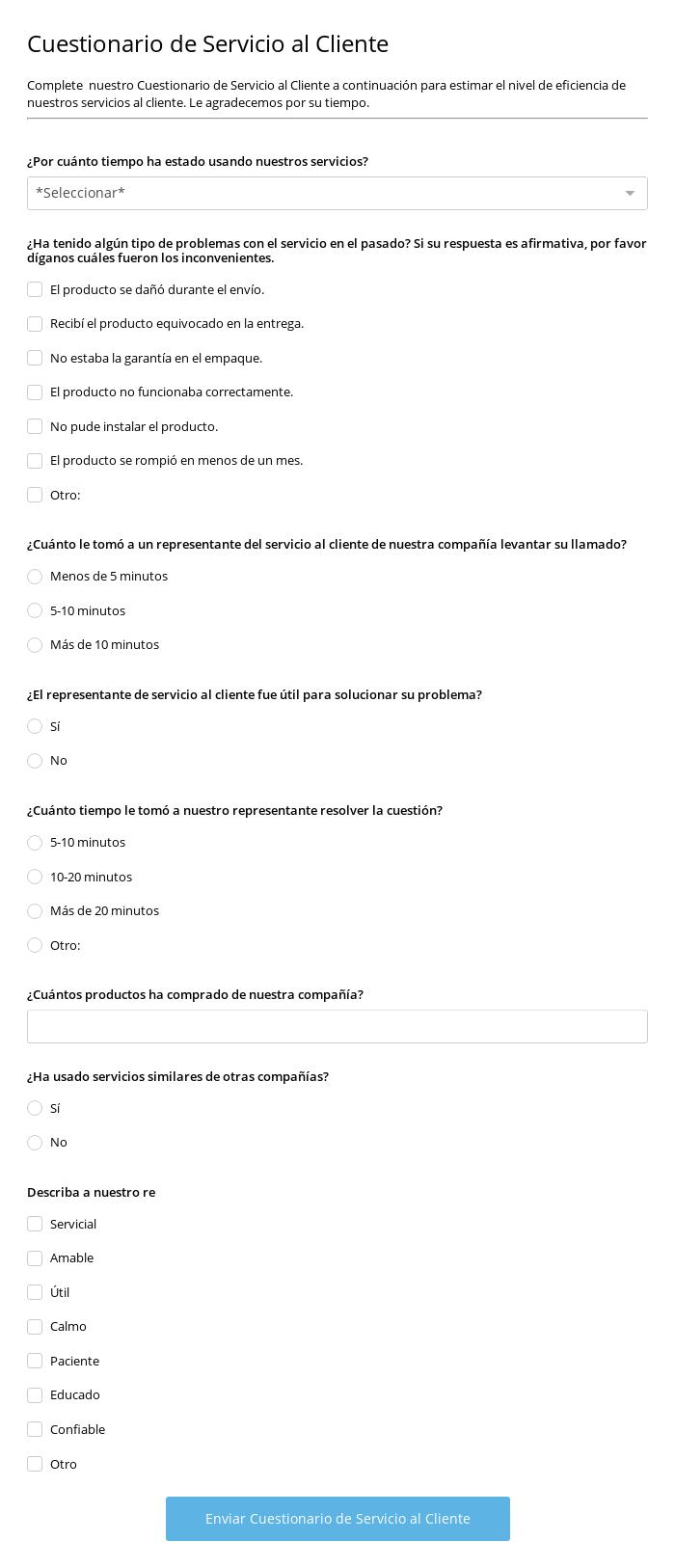 Cuestionario de Servicio al Cliente