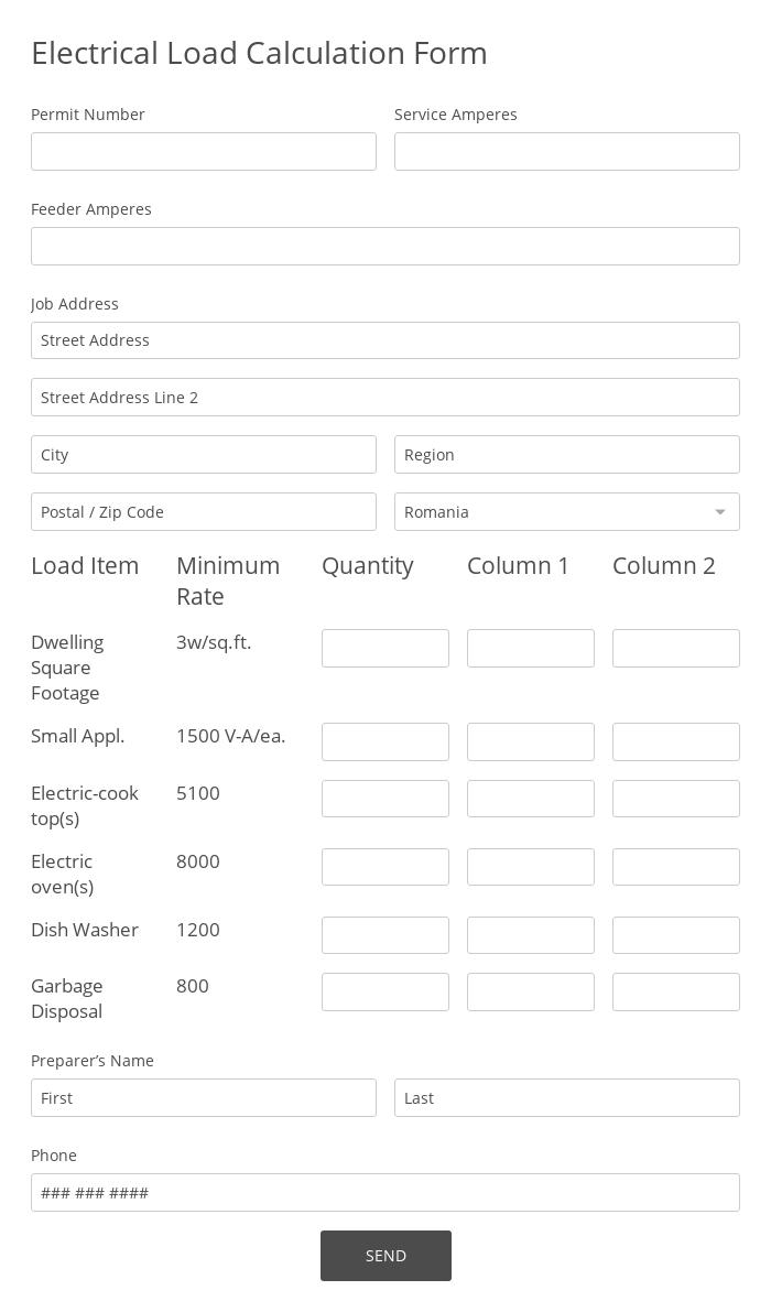 Electrical Load Calculation Form