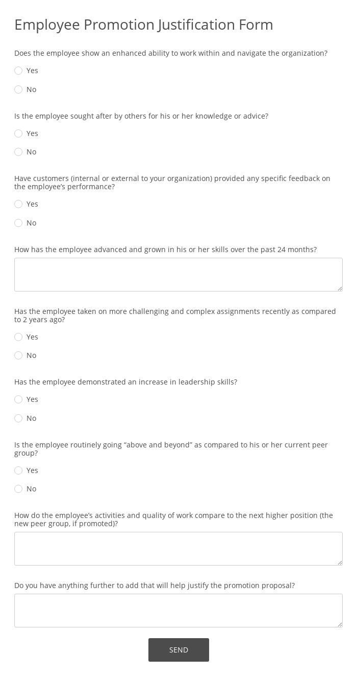 Employee Promotion Justification Form