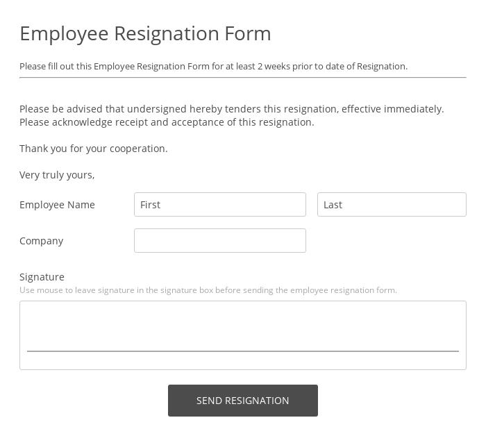 Employee Resignation Form