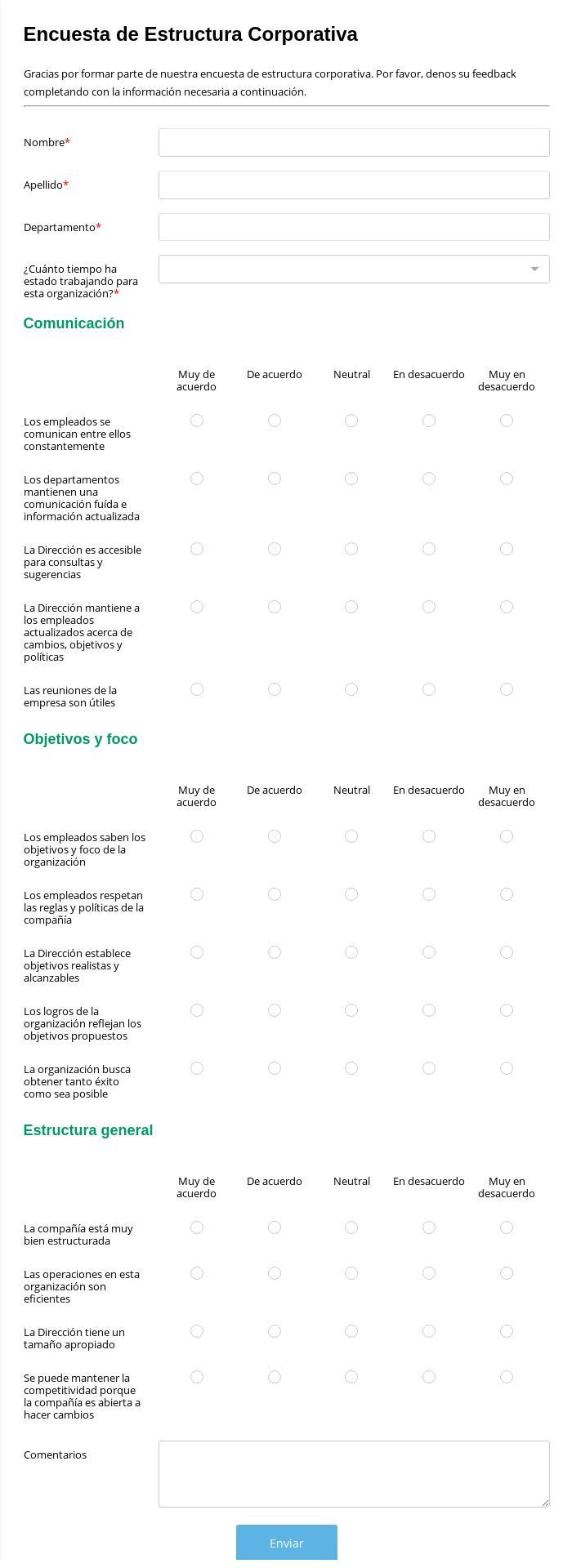 Encuesta de Estructura Corporativa