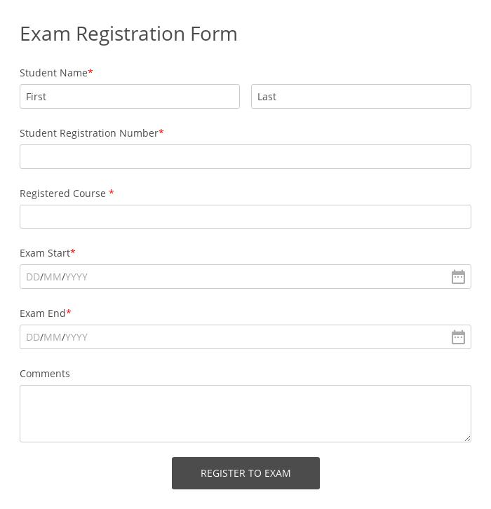 Exam Registration Form