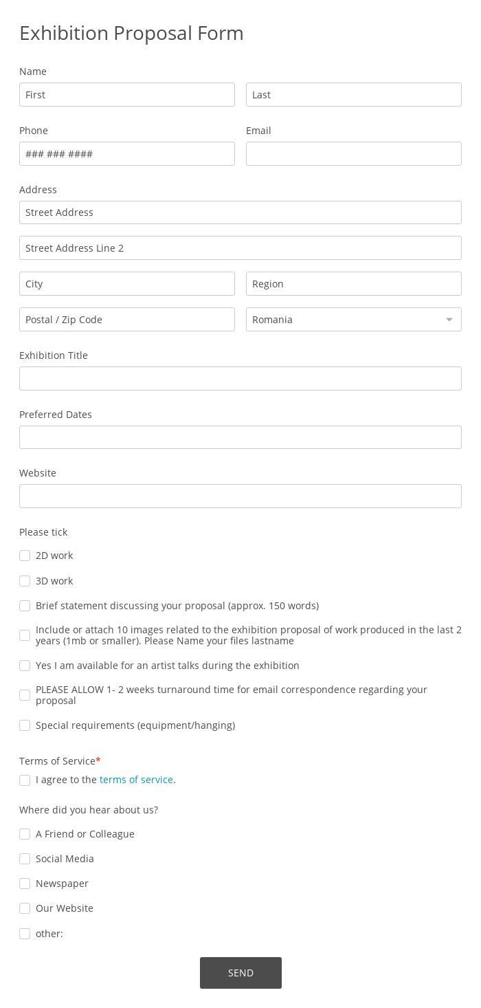Exhibition Proposal Form