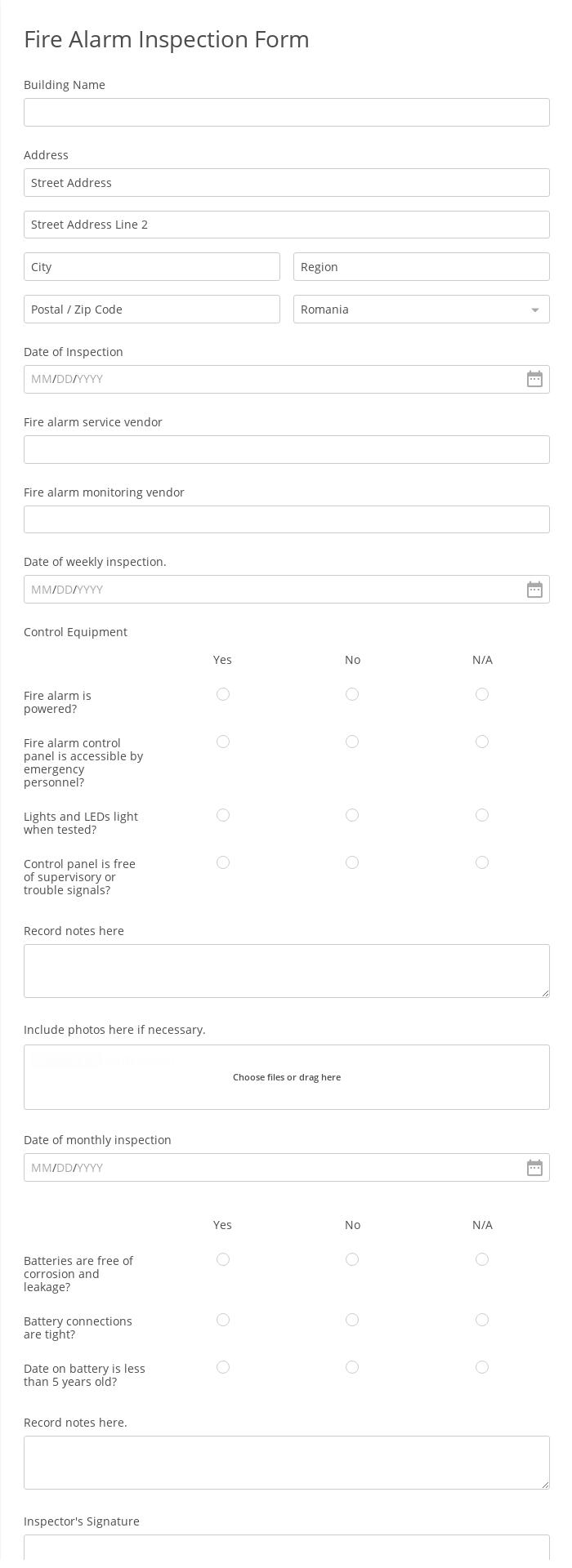 Fire Alarm Inspection Form