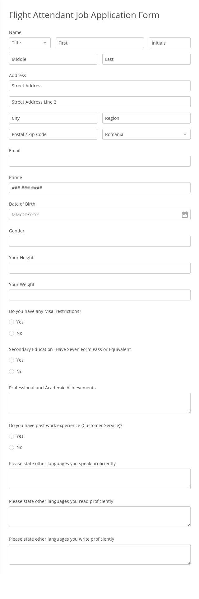 Flight Attendant Job Application Form