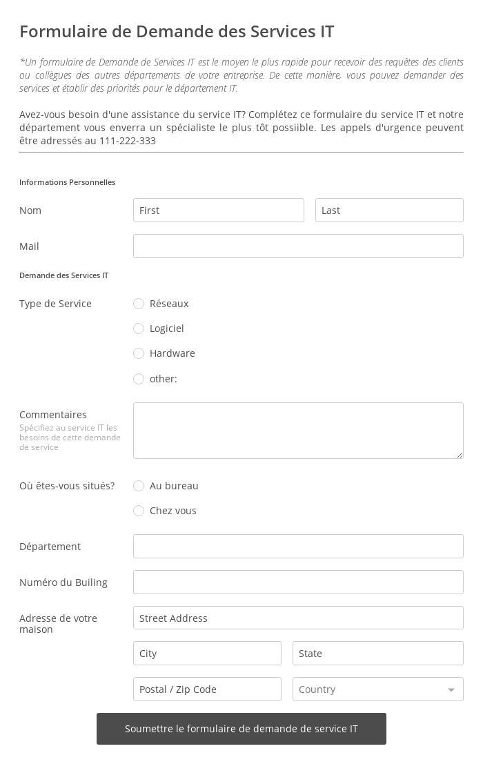 Formulaire de Demande des Services IT