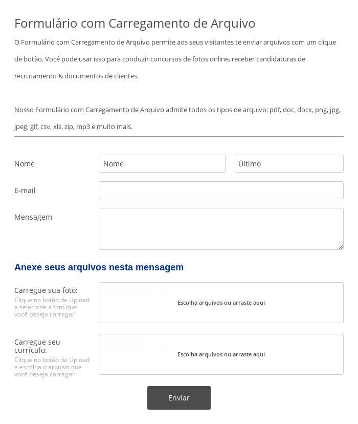 Formulário com Carregamento de Arquivo