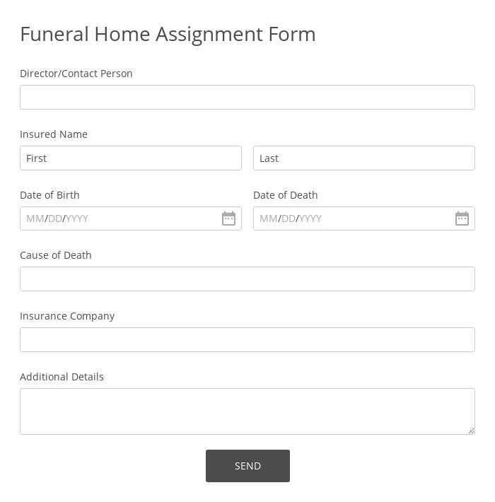 Funeral Home Assignment Form