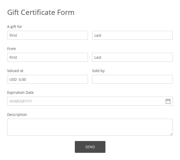 Gift Certificate Form