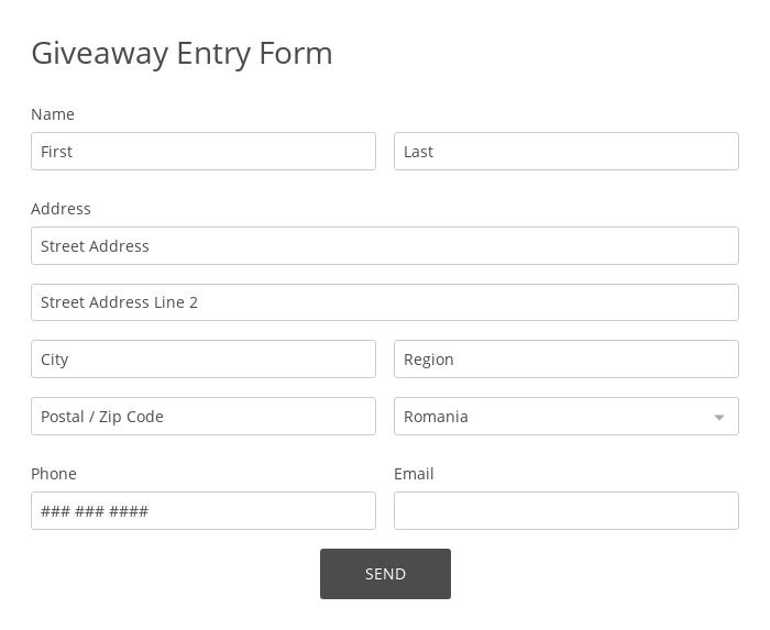 Giveaway Entry Form