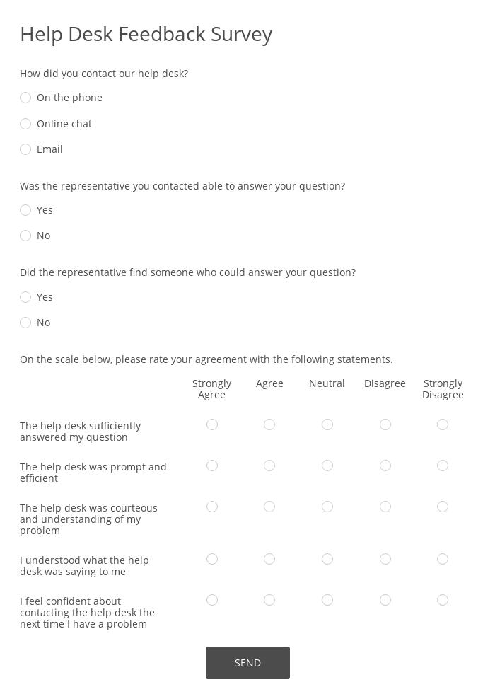 Help Desk Feedback Survey