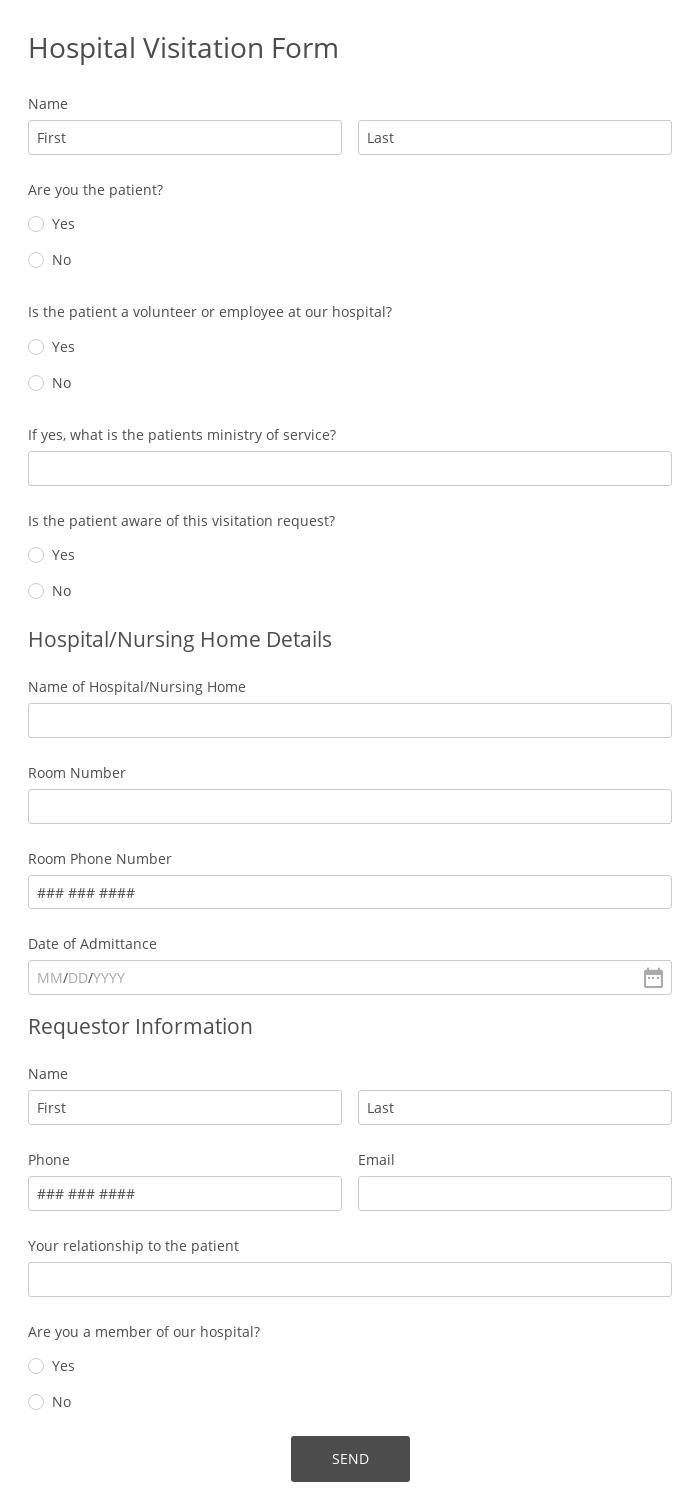 Hospital Visitation Form