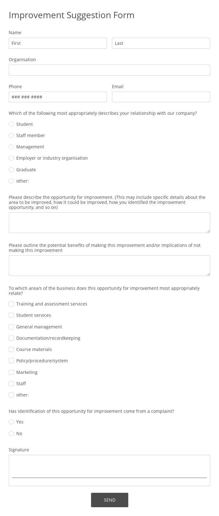 Improvement Suggestion Form