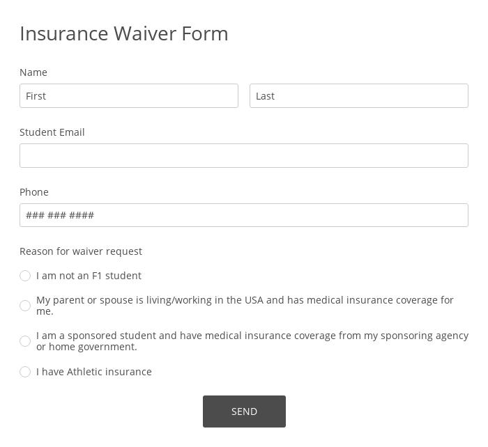 Insurance Waiver Form
