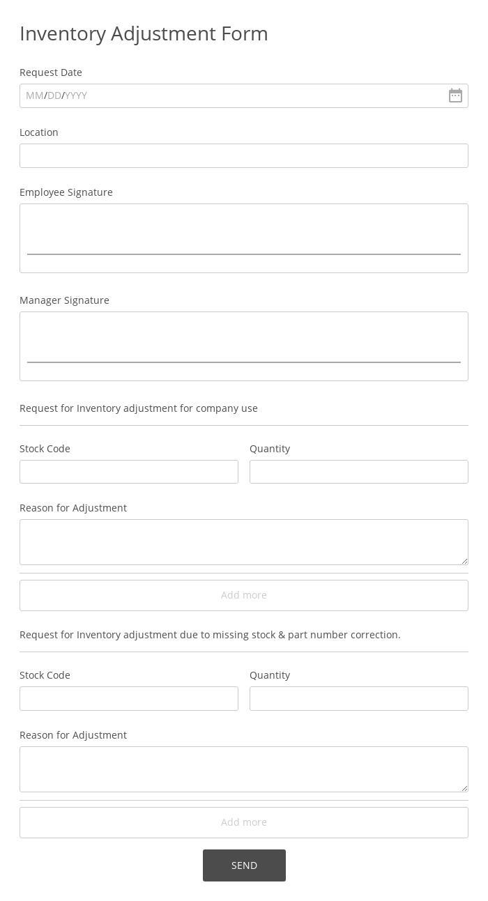 Inventory Adjustment Form