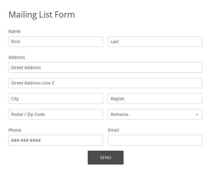 Mailing List Form
