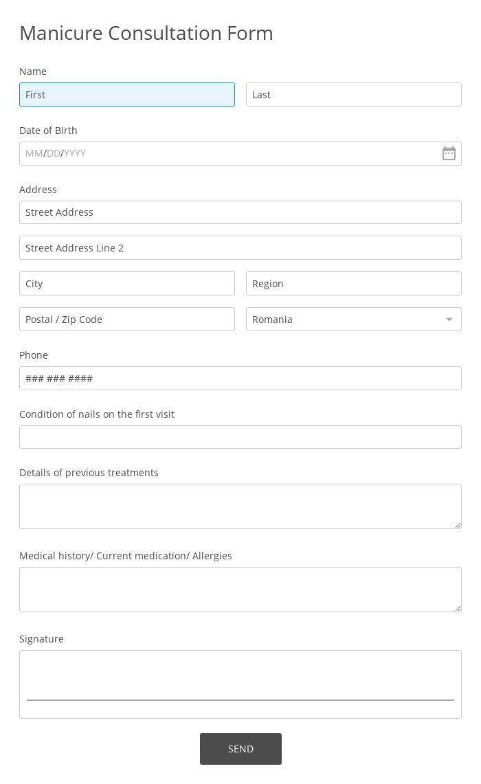 Manicure Consultation Form