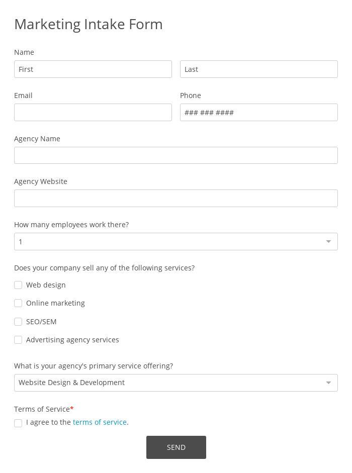 Marketing Intake Form