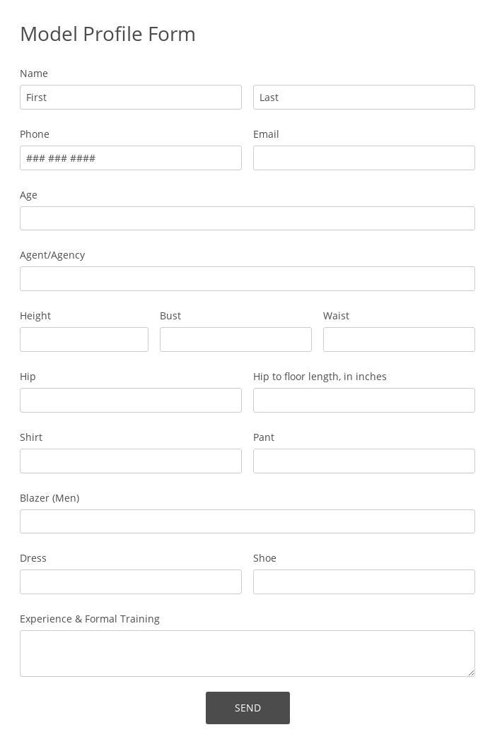 Model Profile Form