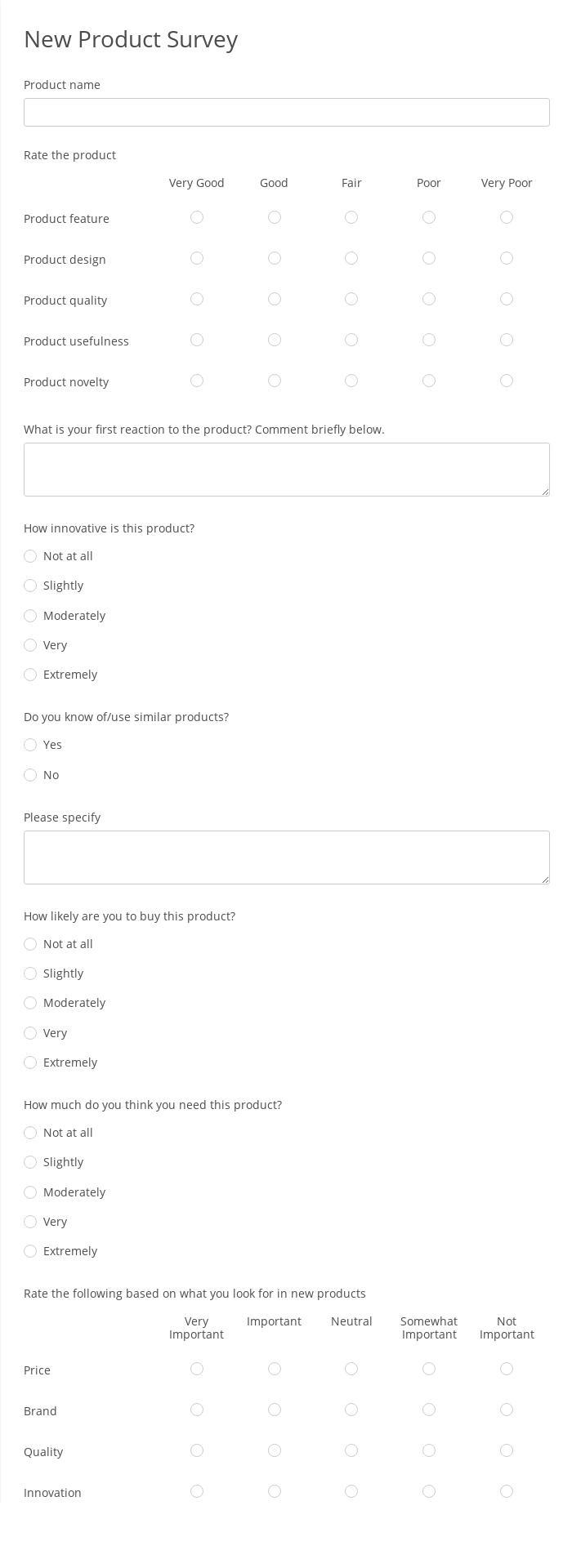New Product Survey