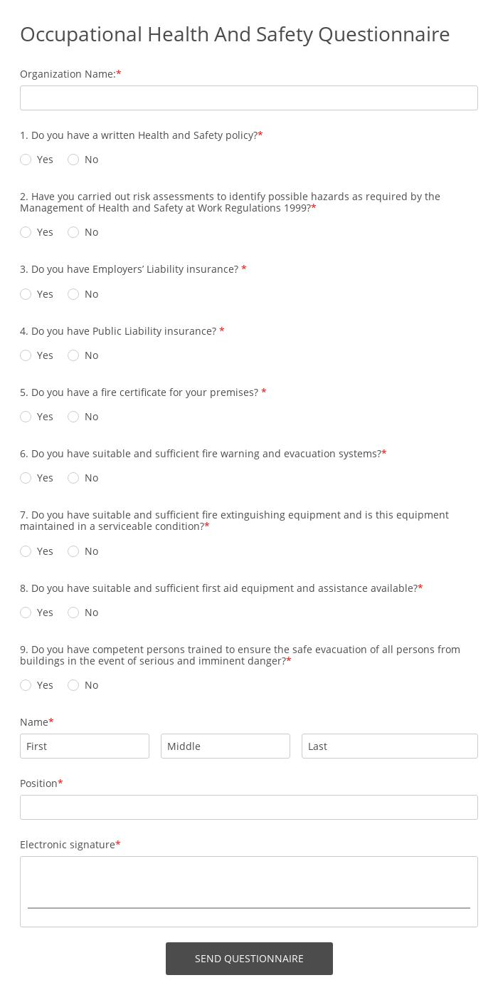 Occupational Health And Safety Questionnaire