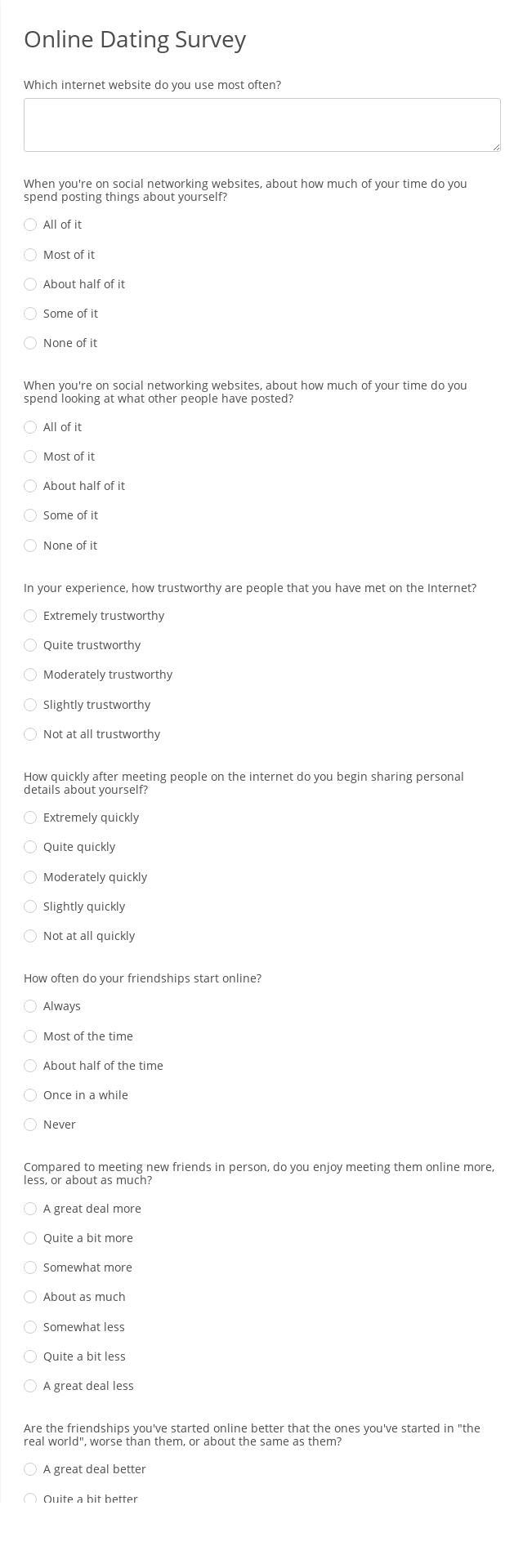 Online Dating Survey