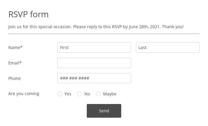 Online RSVP Form