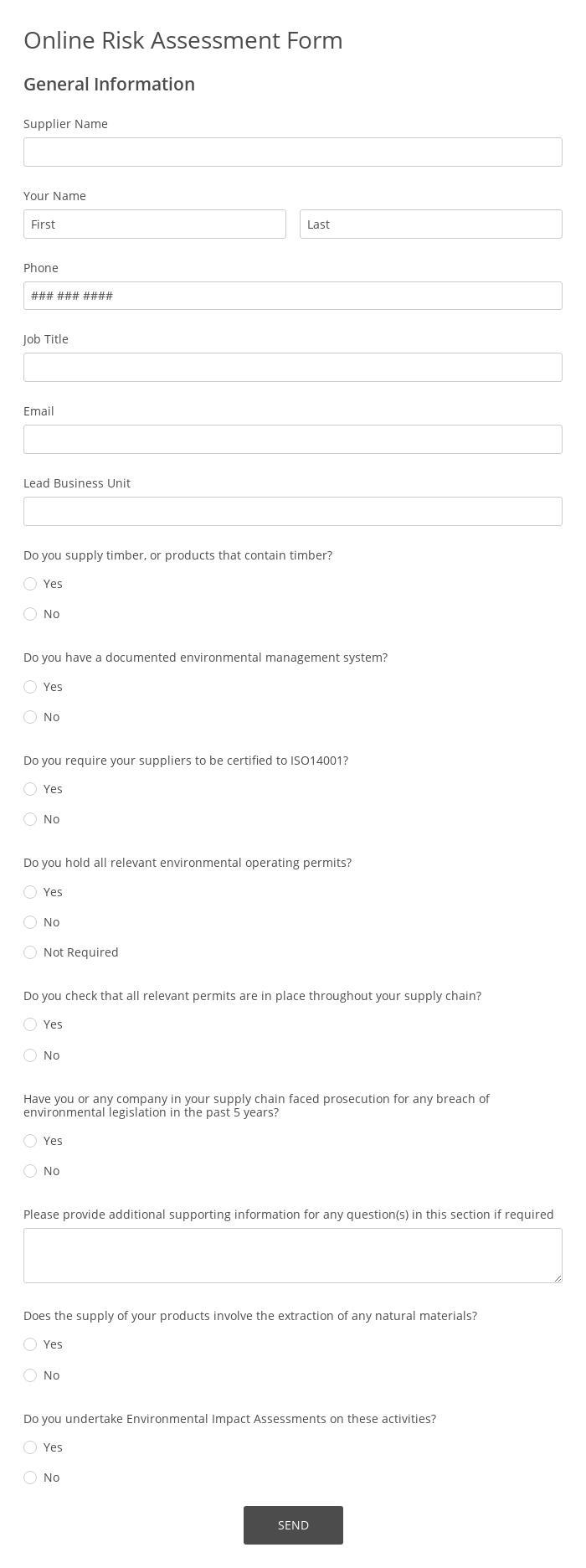 Online Risk Assessment Form
