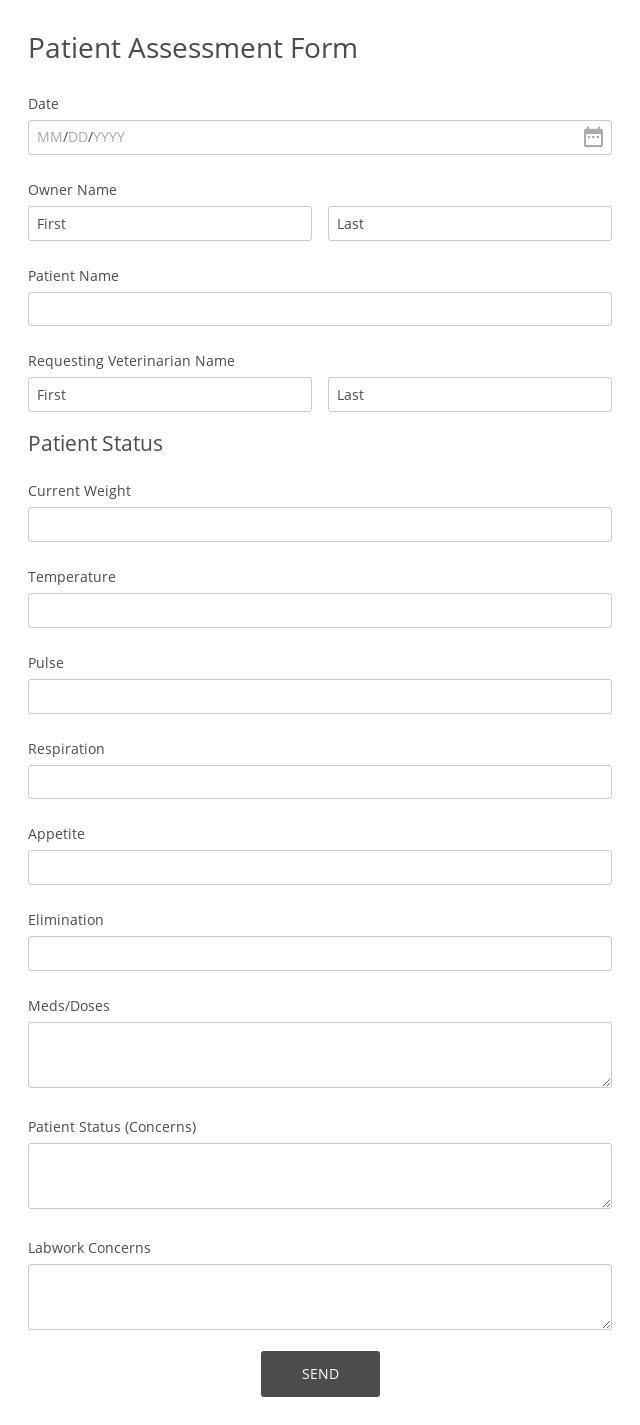 Patient Assessment Form