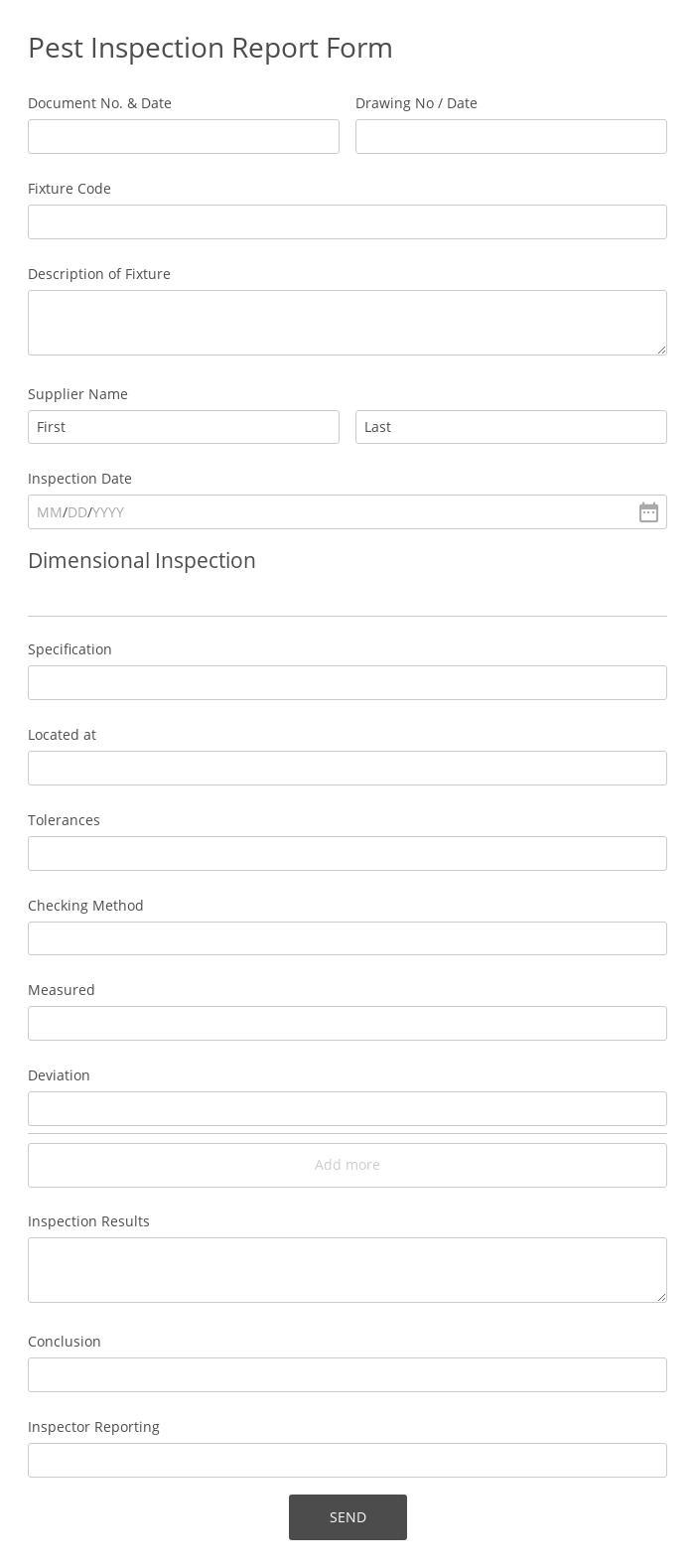 Pest Inspection Report Form