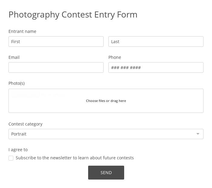 Photography Contest Entry Form