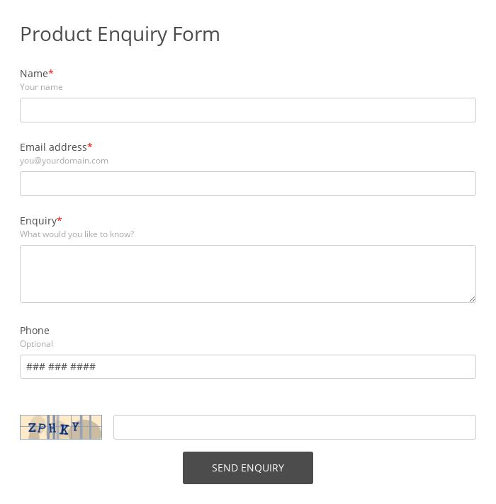 Product Enquiry Form