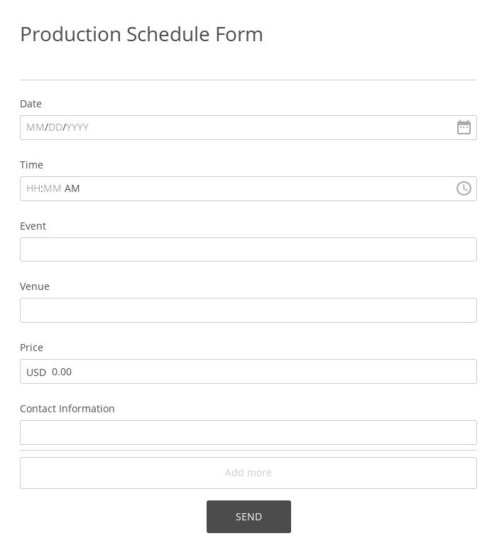 Production Schedule Form
